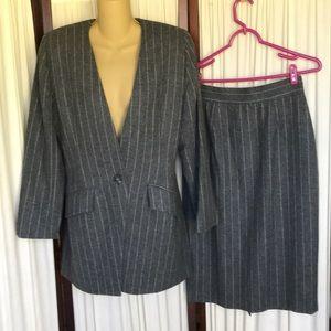 Christian Dior vintage wool jacket skirt suit Sz 8